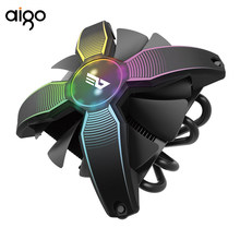 Aigo Talon Tanpa Bingkai Bentuk X RGB LED CPU Cooler PC Heatsink dengan 4 Pipa Panas Radiator Cooling Fan Komputer CPU Pendingin Udara(China)