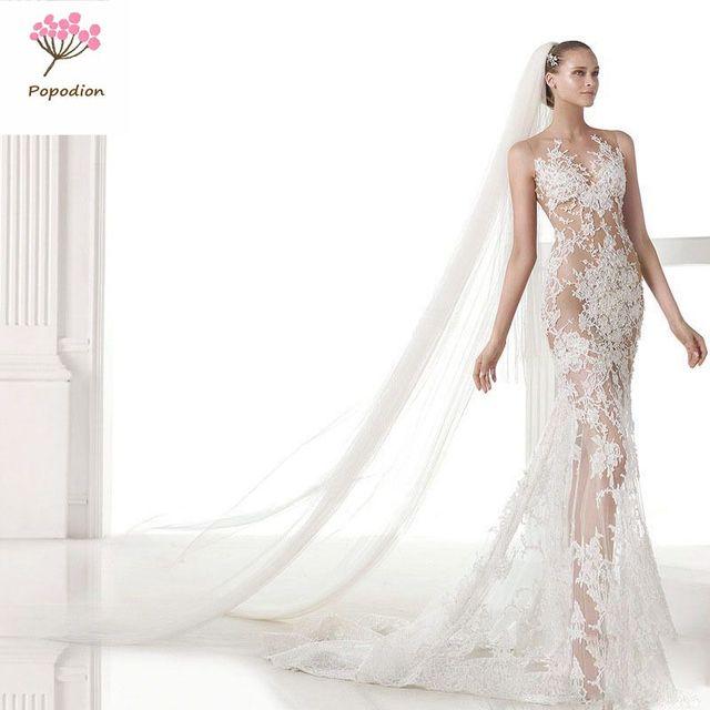 Aliexpress.com : Buy Slim train handmade wedding gowns vintage ...