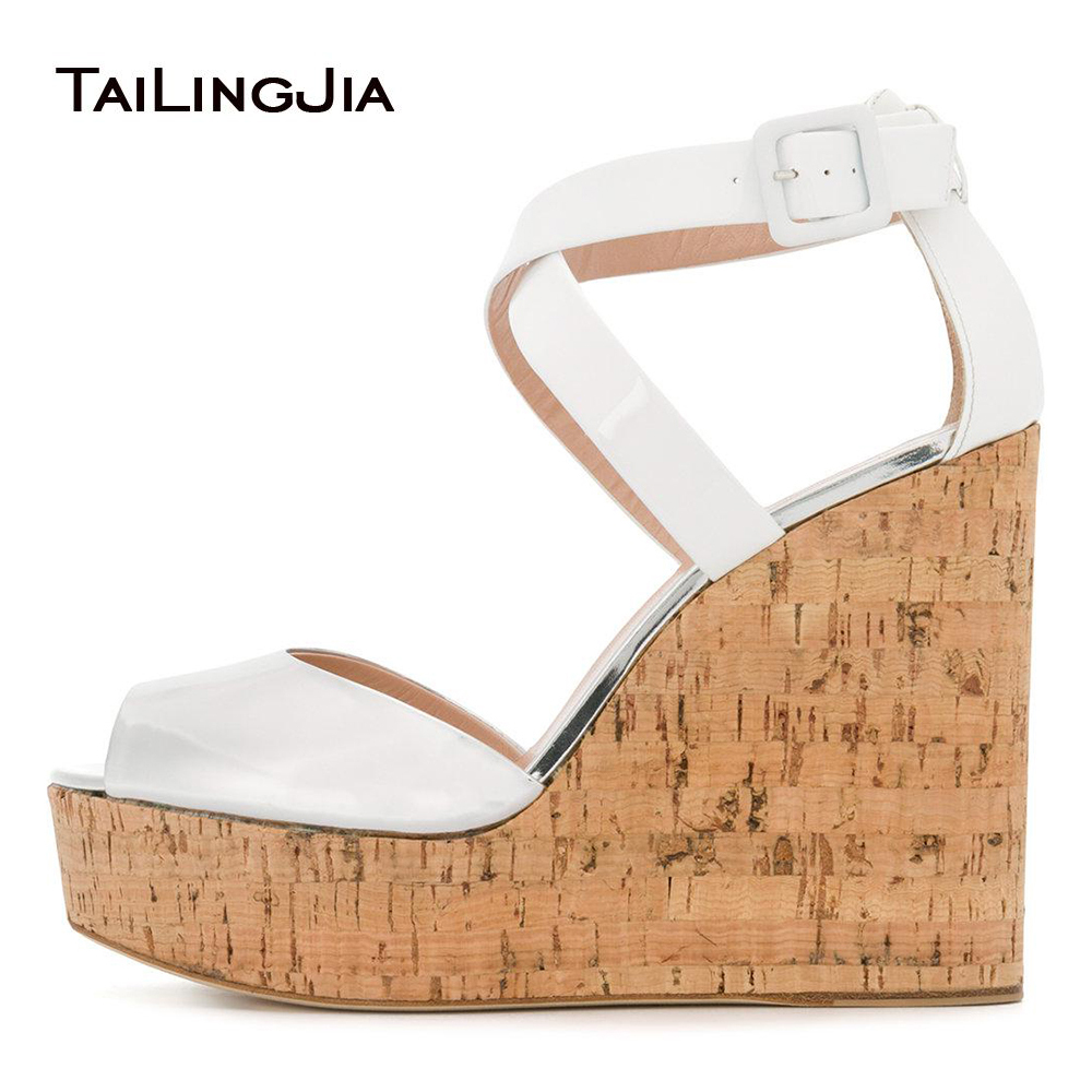 Women Peep Toe Cork Wedge Sandals High Heel Platforms Evening Dress Heels Ladies Summer Shoes Patent White Elegant Wedding Shoes women peep toe cork wedge sandals high heel platforms evening dress heels ladies summer shoes patent white elegant wedding shoes