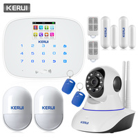 KERUI G19 TFT Color Screen Wireless GSM SMS Home Security Alarm System 720P HD IR Cut WiFi IP Camera Remote Control Alarm System