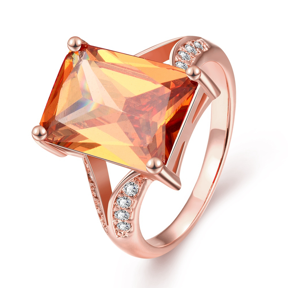 ERLUER New Luxury Big Square Orange CZ Zircon Lady Rings Rose Gold Color Austrian Crystal Charm Woman Jewelry Gifts For Mother