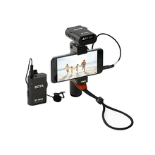 iPhoto Compact Wireless Microphone + Handheld Smart Grip Phone Clip Kit for iPhone Android Smartphone Video Mount Rig Stabilizer
