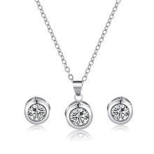 Manxiuni Fashion women Round jewellery set of White Zircon wedding jewerly sets