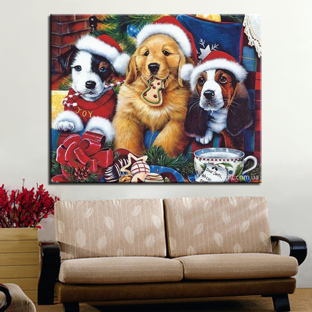 DIY Oil Frame Art Abstract Canvas Painting Christmas Hat Dog By Numbers Modular Fashion Home Decoration