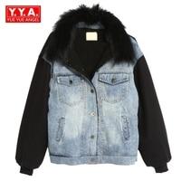 Winter Vintage Retro Women New Fashion Casual Denim Jean Coats Female Parkas Korean Style Raccoon Fur Collar Thick Warm Short