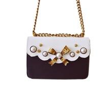 2016 Korean Famous Designer Bowknot Crossbody Bags/ PU Leather Women Rivet Pearl Messenger Bags/ Female Chain Flap Shoulder Bag