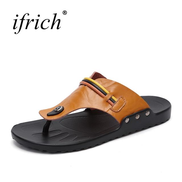 cb92caa103b04 Leather Slippers Black Brown Summer Shoes Male Lightweight Beach Shoes Mens  2018 Flip Flops Men Brand