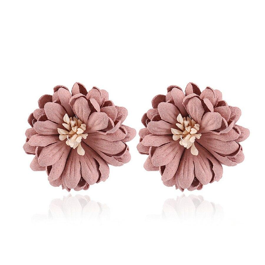 New Fashion Big Pink Gray Flower Earrings Stud Earrings Elegant Bijoux  Gifts For Women Punk Statement