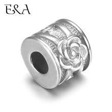 4pcs Stainless Steel Bead Rose Silver Tone 5mm Hole for Leather Jewelry Bracelet Making Metal European Beads Charms DIY Supplies