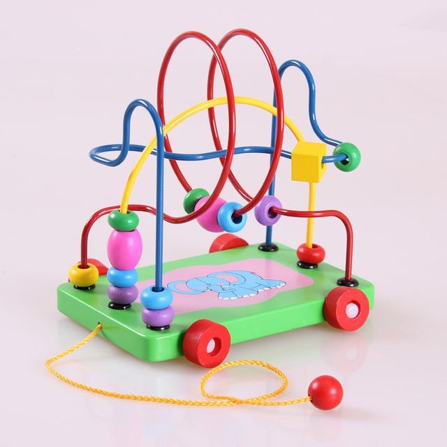 80104190e0 Montessori educazione fumetto elefante rimorchio intorno gioielli  intellettuale puzzle di legno giocattoli per bambini 0-