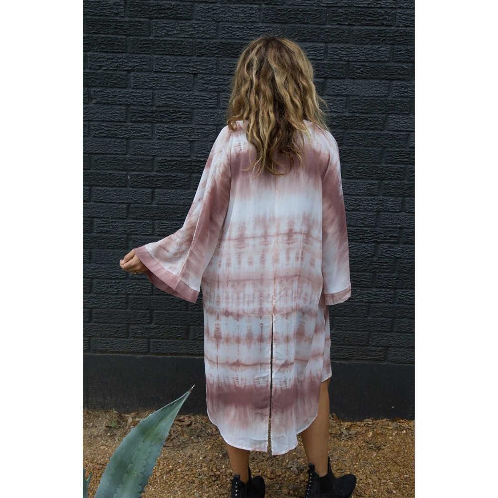 夏のスタイルの女性 9 分袖プリントシフォン自由奔放に生きる着物カーディガンブラウスカジュアル Camisas Femininas Blusas