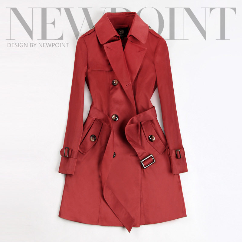 2020 Spring Autumn New Women Classic Double Breasted Mid-long   Trench   Coat Female Slim Street Windbreaker Business Outerwear N794