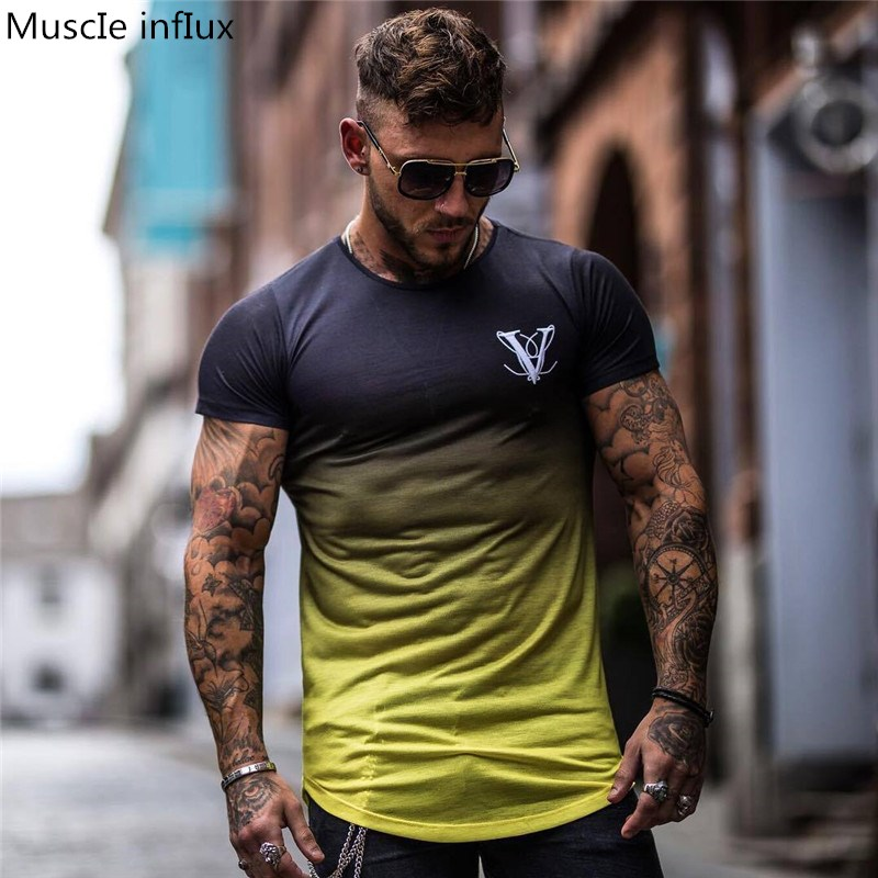 T-Shirt Men Clothing Tee-Tight Short-Sleeve Casual-Top Compression Breathable Fashion
