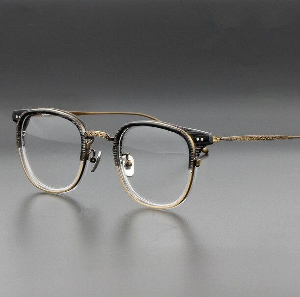 B titane Vintage hommes carré Transparent lunettes marque rétro clair lunettes cadre hommes femmes myopie montures de lunettes lunettes