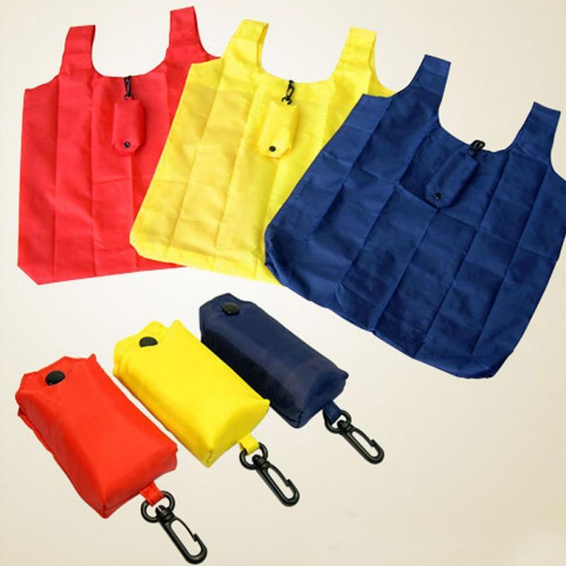 1 Pc Eco Friendly Reusable Foldable Shopping Bag Portable Handbag Shopping Bag Travel Bag With Hoop Key Ring Clip Random Color