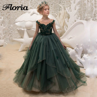 New Arrival Green Ball Gowns Flower Girls Dress 2018 Lace Kids Pageant Gowns Weddings First Communion Dresses Vestidos Daminha