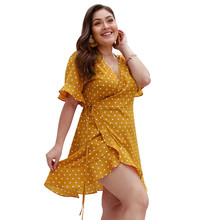 Plus Size 3XL 4XL Summer Sexy Boho Casual Polka Dot Yellow Dress Women Short Flare Sleeve Deep V-Neck High Waist Ladies Dress цена