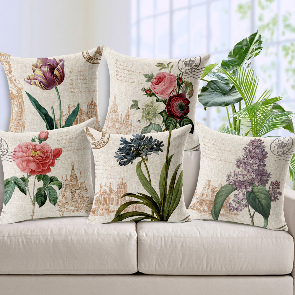 Sofa Color Topo American Country Style Floral Cushion Cover Vintage Home