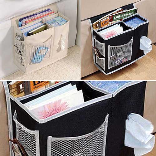 6 جيوب السرير تخزين شبكة فراش كتاب عن بعد سلة غسيل معلقة العلبة