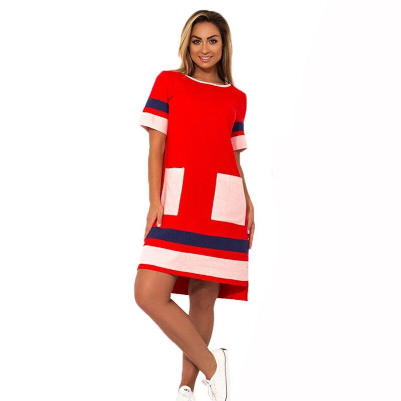 2019 New Arrival Women Dress Oversized Casual Straight Patchwork Vestidos 6XL Short Sleeve Big Size 5XL Work Female Gift Dresses