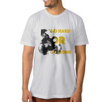 Man Go Hard Or Go Home Pug Dog Weight Lifting Round Neck Man T Shirt O