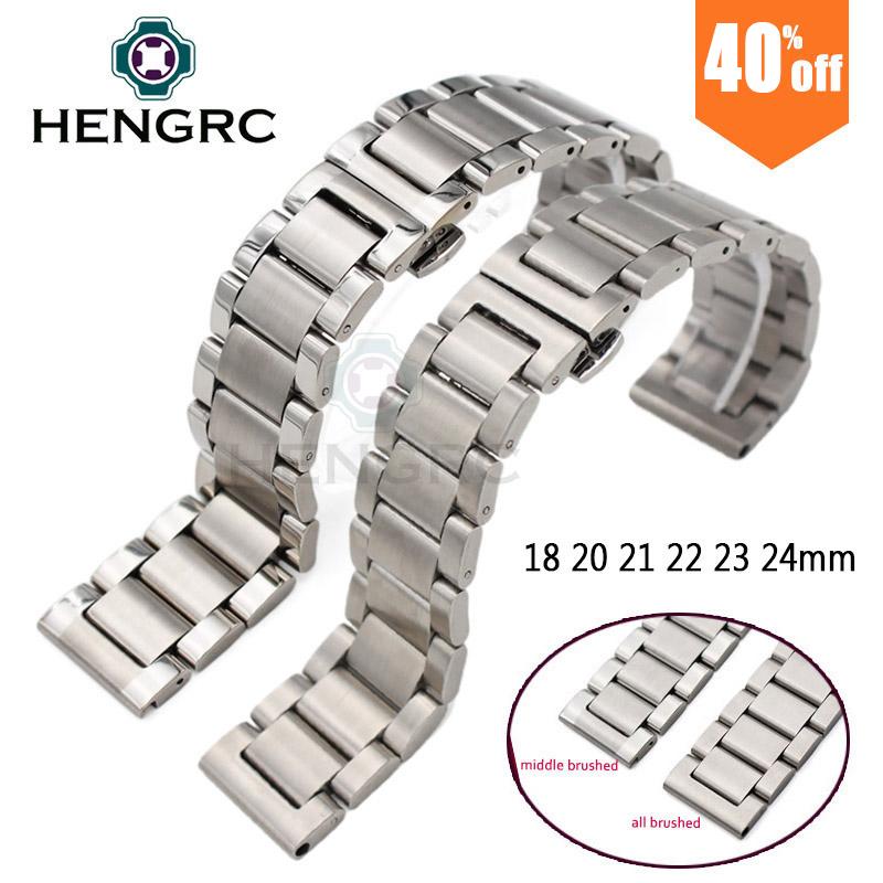 Prix pour Montre en métal Bracelets Hommes de Haute Qualité En Acier Inoxydable 18 20 21 22 23 24mm Bracelets De Mode Femmes Bracelet de Montre De Bande accessoires