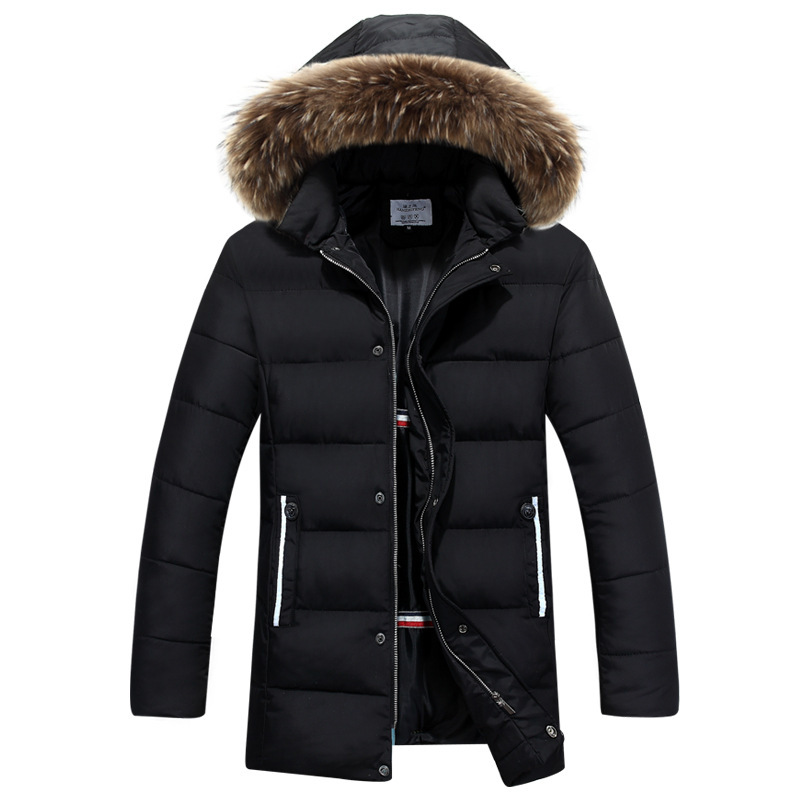 Подробнее о New Fashion Men Down Jacket 2017 Winter Thick Cotton-padded Jackets Men Waterproof Fur Collar Long Parkas Hooded Coat Outwear new winter jacket men cotton parkas padded long black thick warm casual hooded fur collar jacket coat outwear zipper jackets