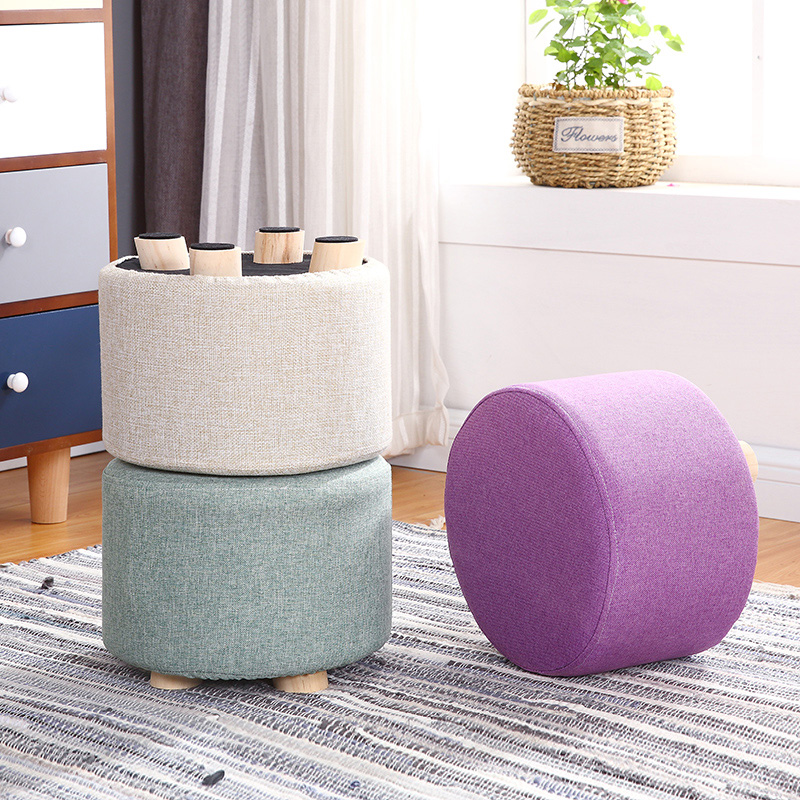 24 Color Small Stool Wooden Ottomans With Linen Cotton Cover Dining Benches Home Work Furniture Sofa Animal Round Armchair(China)