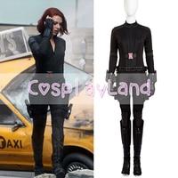 Avengers Black Widow Costume Halloween Superhero Black Widow Cosplay Leather Jumpsuit Cosplay Natasha Romanoff Costume Custom