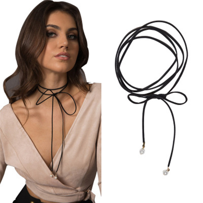 2019 New Designs Velvet Chokers Torques layer Chocker Vintage Jewelry for womenNecklace Black Leather Rope Chain