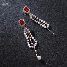 Badu Red Crystal Stud Earring Simulated Pearl Long Earrings for Women Party Jewelry Wedding Engagement Fashion Wholesale