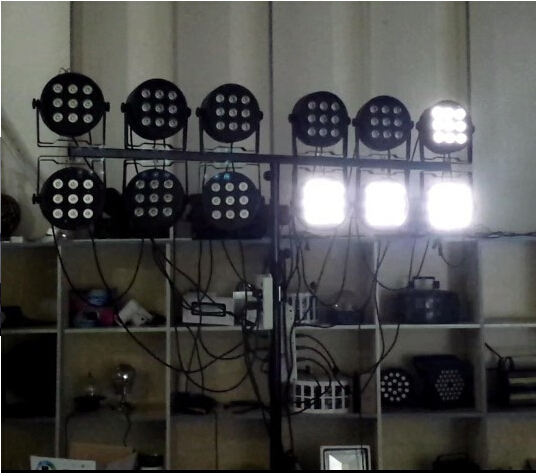 Promoting 9X10W 4in1 RGBW Led Stage Light High Power LED Flat Par Can Strobe Laser With DMX512 DJ Disco Equipment Controller