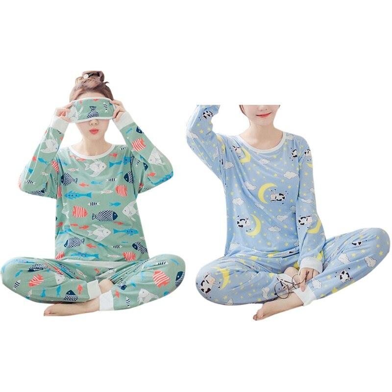 Women Girl Spring   Pajamas     Set   Cartoon Lovely Cow Fish Long Sleeve Sleepwear Suit