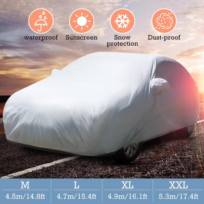 M/L/XL/XXL Universal Full Car Cover Anti Rain Snow Ice Waterproof Dustproof UV Outdoor(China)