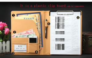 Image 5 - Czarny wielofunkcyjny notatnik ze skóry PU a4 klip plik notatnik pokrywa uchwytu na dokumenty biznesowe etui na dokumenty podróżne