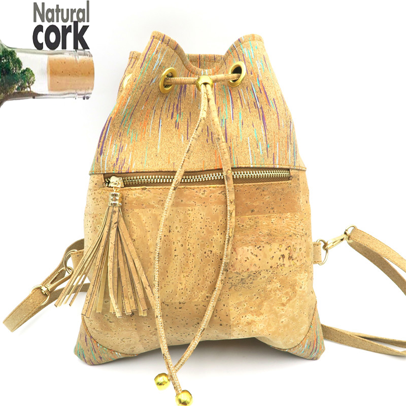 natural cork colorful backpack tassel women bag vegan handmade high quality Bag-147 From Portugal natural cork watch strap brown cork with pu leather handmade vegan high quality e 001