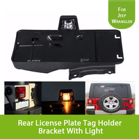 For 2007 2016 Jeep Wrangler Rear License Plate Tag Holder Bracket With Light