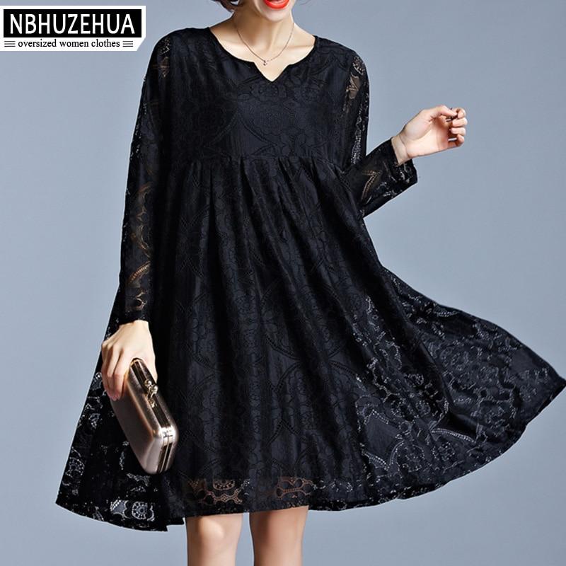 NBHUZEHUA 7G508 Women\'s Lace Dress Long Sleeve Vintage Black Dress V-Neck  Spring Plus Size Dress 4XL 5XL 6XL Party Dresses