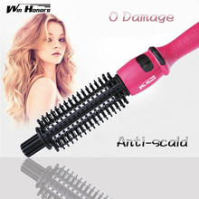 Big discount Bed Head Hair Curler C-901A Electric Hair Straightener Flat Iron With Styling Curler Curling Brush  Pink Hair Wand 2016 New