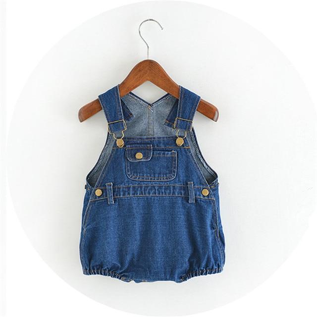09b276887ac6 Baby Girl Denim Brand Romper Newborn Jeans Playsuit Summer Kids Overall  Short Pants Boy Kids Toddler Oneside Jumpsuit Clothing