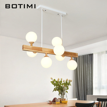 BOTIMI Wooden LED Pendant Lights For Dining Romm 7 Light Lustre with Glass Lampshade Wood Kitchen Luminaire Bar Hanging Lamp botimi colorful pendant lights for dining nordic led pendant lamp with lampshade single e27 bar light indoor hanging lamps