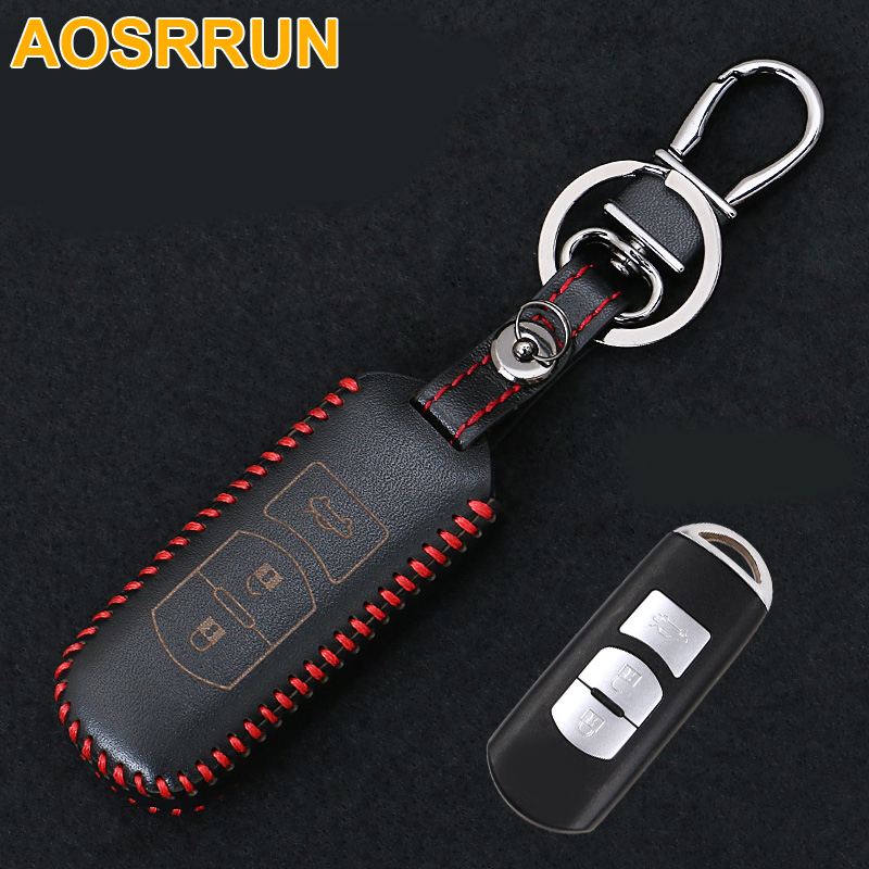 AOSRRUN Key wallet car genuine leather key cover auto parts for font b Mazda b font