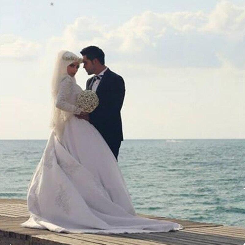 Wedding Dress 2017 Bridal Elegant Ball Gown Arab Islamic Gowns High Neck font b Hijab b