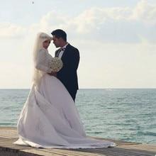 Wedding Dress 2017 Bridal Elegant Ball Gown Arab Islamic Gowns High Neck Hijab Long Sleeve Muslim Robe De Mariage Dresses