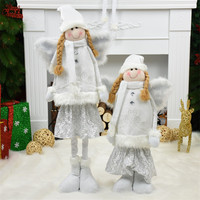Beautiful Angel Dolls Retractable Standing Toy 40 100cm Girls With Wings Christmas Decoration for Home New Year Birthday Gifts