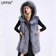 UPPIN жилет женский искусственный мех меховой жилет имитация серебра Лисий мех пальто с капюшоном жилет вертикальная полоса средней длины большой Размеры Для женщин искусственная Меховая куртка дубленка шуба