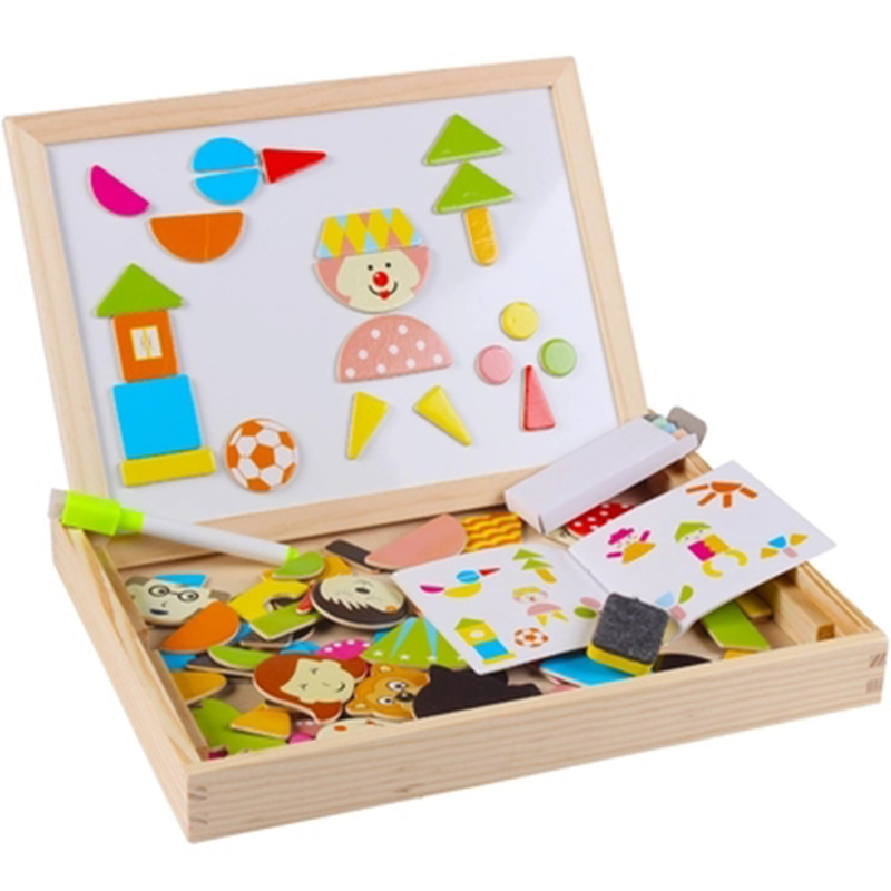 baby Wooden toys Puzzles For Children Forest Park Multifunctional Magnetic Kids Puzzle Drawing Board Educational Toys in Puzzles from Toys Hobbies