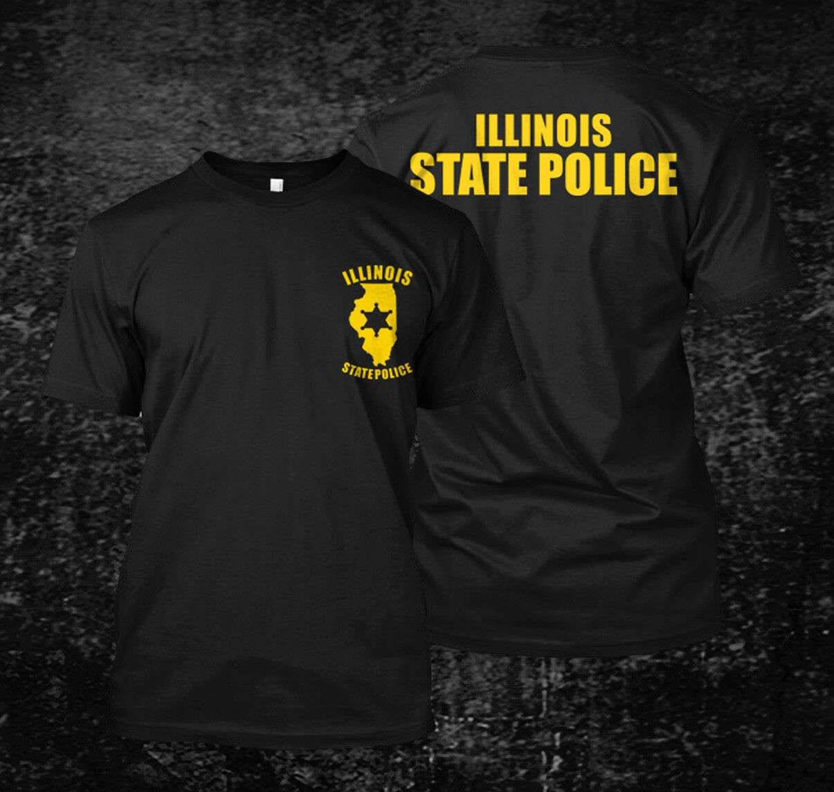 2019 Funny <font><b>Illinois</b></font> Police State - Custom Men'S Black T-Shirt Tee Double Side Unisex Tee image
