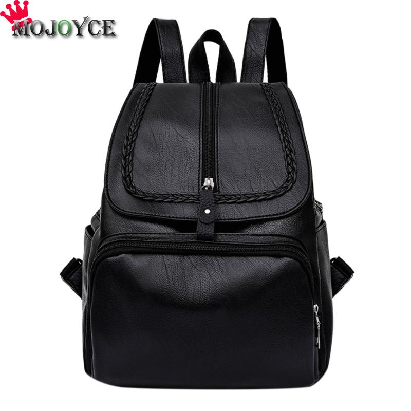 MOJOYCE Backpacks For Teenage Girls Women's PU Leather Backpack School Bag Casual Vintage Large Capacity Travel Backpack jmd backpacks for teenage girls women leather with headphone jack backpack school bag casual large capacity vintage laptop bag