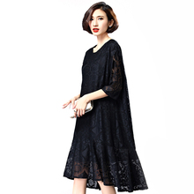 Han edition summer in 2016 the new bud silk loose big five yards show thin sleeve dress dress Black average size